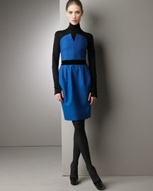 Turquoise. Slit strapless neckline. Black belted waist with darts. Wool. Dry clean only. Made in France. :  yves bergdorf goodman dress ysl