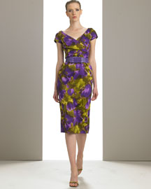 Violet/army/saffron gardenia print. Surplice neckline; crisscross bodice. Cap sleeves. Belt at waist. Dry clean only. Made in Italy.  :  michael designer bergdorf goodman dress