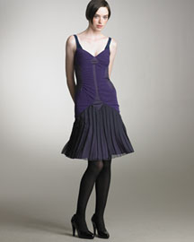 Zac Posen Strap Vector Dress -  Zac Posen -  Bergdorf Goodman :  zac posen strap vector dress pleated skirt 1920s purple