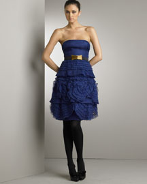From Alessandra Fachinetti's first runway show. Blue fabrege. Strapless neckline. Mechanical lace roses. Pure silk. Made in Italy. :  designer bergdorf goodman dress goodman