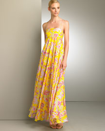 Ralph Lauren Paisley Impression Gown -  Florals -  Bergdorf Goodman :  loose spaghetti straps maxi dress multicolor
