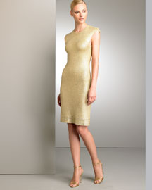 Ralph Lauren Black Label Metallic Knit Dress -  Neutrals -  Bergdorf Goodman :  ralph bergdorf goodman dress neutrals