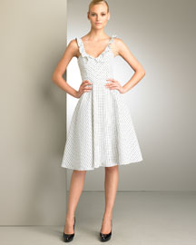 Carolina Herrera Dotted Ruffle Dress -  Bergdorf Goodman :  fitted at waist clothing womens pleats