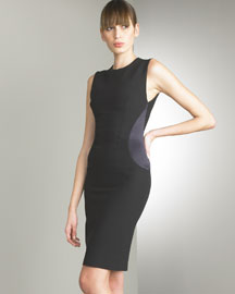 Duchesse-Panel Crepe Dress -  Bergdorf Goodman :  black dress sleeveless crepe dress