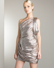 Zac Posen - Designer Collections  -  Bergdorf Goodman :  copper swirl one-shoulder gathered