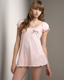 Juicy Couture -  Baby Doll Night Shirt, Pink -  Bergdorf Goodman :  pink juicy couture babydoll puffed sleeves