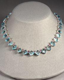 PAULO COSTAGLI Blue Topaz & Pink Sapphire Necklace- Precious Jewelry- Bergdorf Goodman