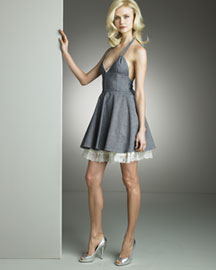 D&G Dolce & Gabbana            Denim Halter Dress -   Bergdorf Goodman :  lace d and g seaming dg
