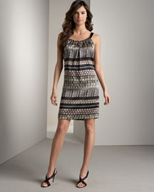 Carmen Marc Valvo Printed Bow Dress -  Designer -  Bergdorf Goodman :  printed carmen marc valvo dress gathered