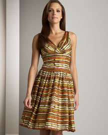 Carmen Marc Valvo Striped Dress -  Dresses -  Bergdorf Goodman :  striped dress seamed bust brownze