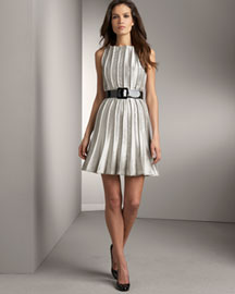 Carmen Marc Valvo Pleated Dress -  Carmen Marc Valvo -  Bergdorf Goodman :  marc dress marc valvo patent leather