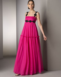 Notte by Marchesa Embroidered-Strap Gown -  Marchesa -  Bergdorf Goodman :  celebrities goodman shoulder fall