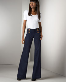 J Brand Jeans Wide-Leg Sailor Pants, Indigo Wash -  Denim -  Bergdorf Goodman :  pants jeans indigo button