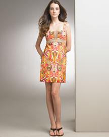 Milly Metallic-Trim Date Dress- Bright- Bergdorf Goodman