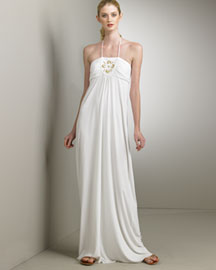 Milly Beaded Jersey Hostess Dress -  Dresses -  Bergdorf Goodman :  white maxi dress dress maxi dresses