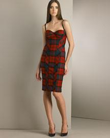 D&G Dolce & Gabbana Stretch Wool Tartan Bustier Dress- Dresses- Bergdorf Goodman