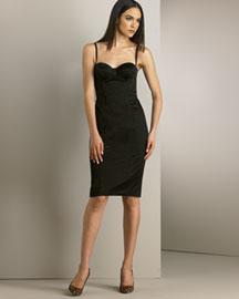 D&G Dolce & Gabbana Stretch Sateen Bustier Dress, Black- Dresses- Bergdorf Goodman