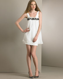 Alice + Olivia Layered Silk Bubble Dress -  Party -  Bergdorf Goodman :  scoop neck clothes clothing bubble dress