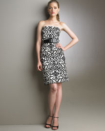 Milly Tuileries Print Dress -  Dresses -  Bergdorf Goodman :  milly strapless black and white print