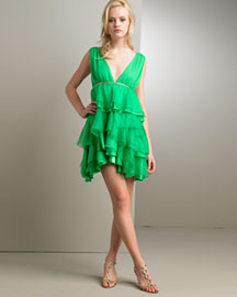 Alice & Olivia Silk Ruffled-Tier Dress -  Party -  Bergdorf Goodman from bergdorfgoodman.com