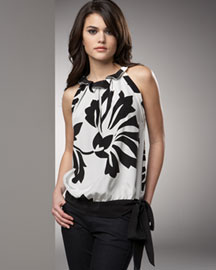 Robert Rodriguez Printed Top -  On the Town -  Bergdorf Goodman :  floral black and white clothes shirts
