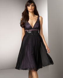 Carmen Marc Valvo Chiffon Dress -  Sleeveless -  Bergdorf Goodman :  valvo sleeveless chiffon dress