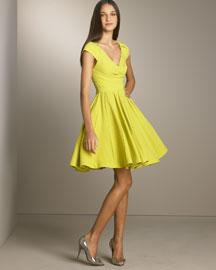 Zac Posen - Designer Collections  -  Bergdorf Goodman :  dress lime flounce deep