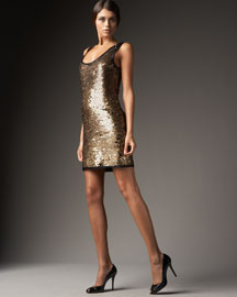 DVF Sequined Tank Dress  :  sequined tank dress sparkly sequins gold