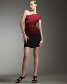 Herve Leger One Shoulder Ombre Dress