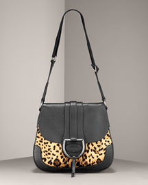 Black/brown leopard-print twill with black leather accents. Adjustable woven top handle; 23
