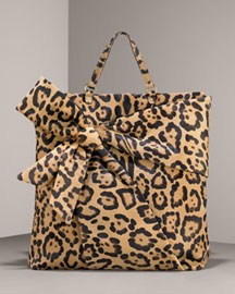 Valentino Leopard-Print Bow Shopper -  Bergdorf Goodman :  tan print bow detail shopper