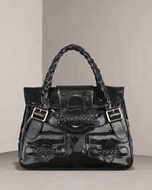 Valentino Braided Patent Leather Shoulder Bag- Satchels- Bergdorf Goodman