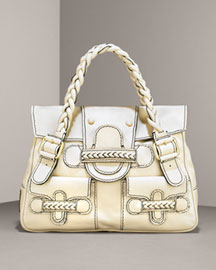 Valentino Braided Leather Shoulder Bag -  Bergdorf Goodman :  handbag bag topstitching gold-tone