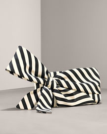 black and white striped bow clutch