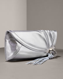 Jimmy Choo Metallic Leather Clutch -  Shoes & Handbags -  Bergdorf Goodman :  shopping clutch soft metallic