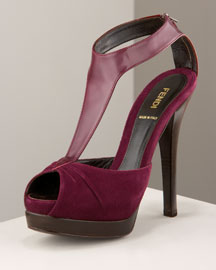 Choose bordeaux or black suede with tonal spazzalato leather trim. T-stap with back zip. Peep toe. 3/4