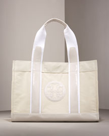 Tory Burch Patent-Trim Tote -  Handbags -  Bergdorf Goodman :  rocker chic satchel sculpture goodman