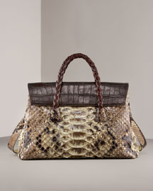 Carlos Falchi Kelly Croc-Trim Python Satchel -  Shoes & Handbags  -  Bergdorf Goodman  :  bags