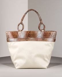 Nancy Gonzalez Python-Trimmed Canvas Tote -  Handbags -  Bergdorf Goodman