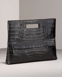 Nancy Gonzalez Croc Fold-Over Clutch -  Handbags -  Bergdorf Goodman  :  clutches nancy gonzalez