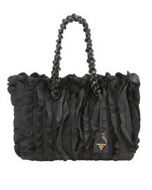 Prada Ruffled Chain-Strap Tote -  Resort Collection -  Bergdorf Goodman :  trends accessory bergdorf goodman