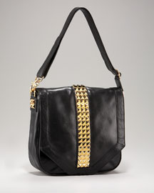 Studded Messenger - Tory Burch - Bergdorf Goodman :  black tory burch studded cognac