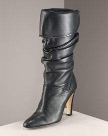 Manolo Blahnik -  Ruched Napa Boot -  Bergdorf Goodman :  manolo blahnik leather slouchy boots