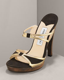 Jimmy Choo -  Suede Platform -  Bergdorf Goodman :  platform suede and leather gold metallic