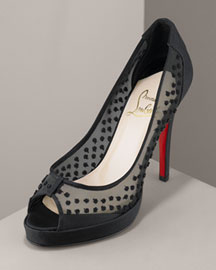 Christian Louboutin            Dotted Peep-Toe Pump -   Bergdorf Goodman :  platform shoes heels christian
