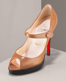 Christian Louboutin Peep-Toe Mary Jane- Pumps- Bergdorf Goodman