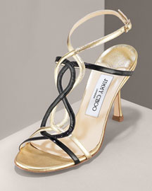 Jimmy Choo Twisted T-Strap Sandal -  Shoes -  Bergdorf Goodman :  black jimmy choo buckle italy