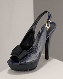 Fendi Peep-Toe Patent Slingback -  Shoe Collection -  Bergdorf Goodman :  platform buckle shoe patent leather