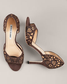 Manolo Blahnik Lace Hair-Calf d'Orsay -  Pre-Fall -  Bergdorf Goodman :  manolo blahnik leather cutout detail brown
