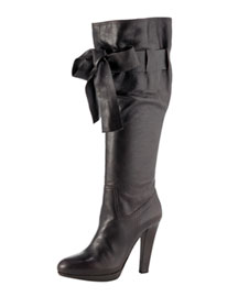 Miu Miu Bow Boot -  Tall and Midcalf -  Bergdorf Goodman :  bow heels boots miu miu